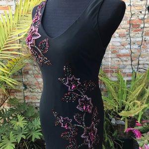 SUE WONG Dress, Sz 6, Beaded, Silk Chiffon